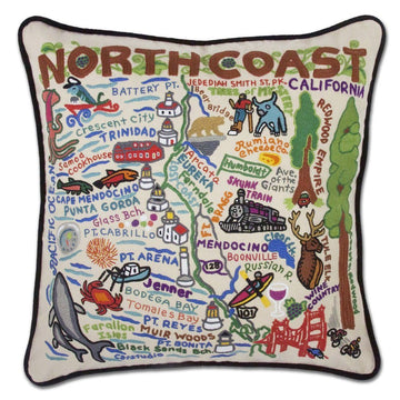 North Coast Hand Embroidered Catstudio Pillow