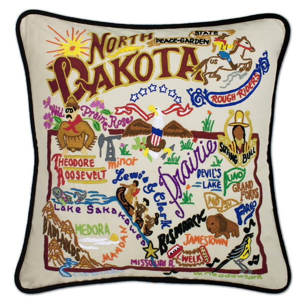 North Dakota Embroidered Catstudio State Pillow-Pillow-CatStudio-Top Notch Gift Shop