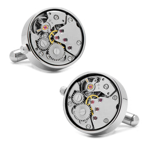 Steampunk Silver Watch Movement Cufflinks-Cufflinks-Cufflinks, Inc.-Top Notch Gift Shop