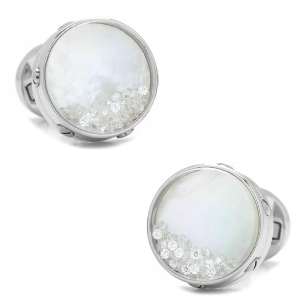 Mother of Pearl Floating Crystals Cufflinks-Cufflinks-Cufflinks, Inc.-Top Notch Gift Shop