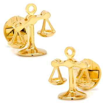 Moving Parts Scales of Justice Cufflinks - Gold