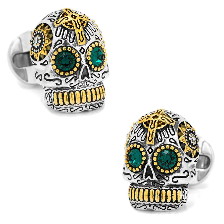 Sterling Silver and Gold Day of the Dead Skull Cufflinks-Cufflinks, Inc.-Top Notch Gift Shop