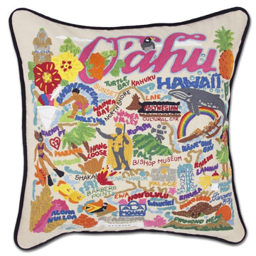 Oahu Embroidered Catstudio Pillow