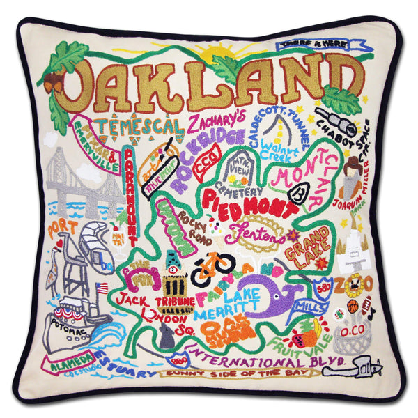 Oakland Hand Embroidered Catstudio Pillow-Pillow-CatStudio-Top Notch Gift Shop