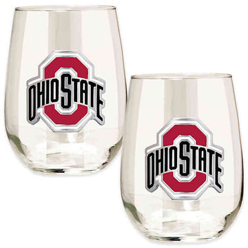 Ohio State Buckeyes 15 oz. Stemless Wine Glass - (Set of 2)