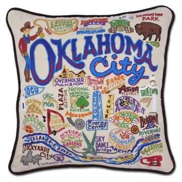 Oklahoma City Hand Embroidered Catstudio Pillow