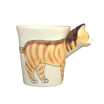 Orange Tabby Cat Hand Painted Coffee Mug