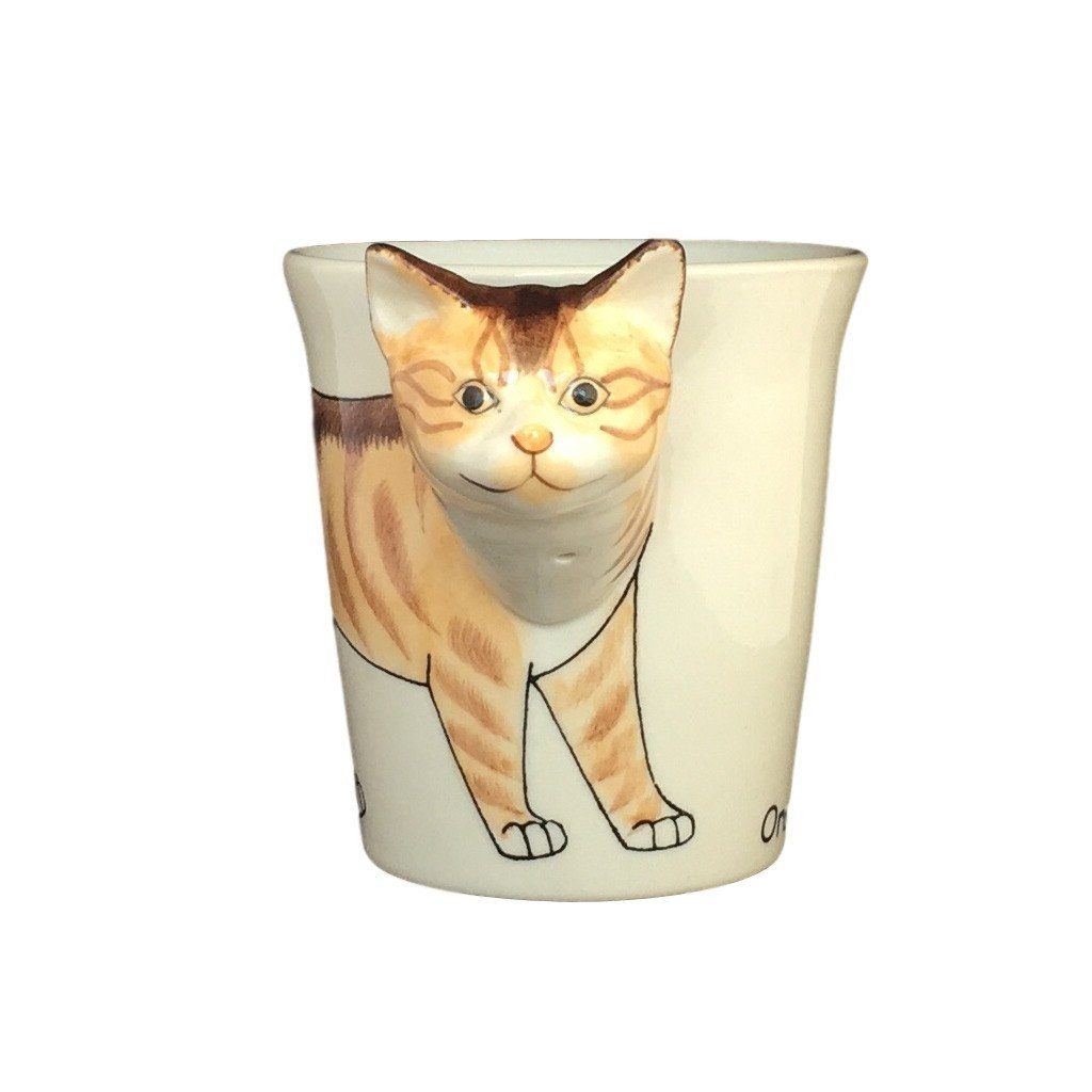 Orange Tabby Cat Hand Painted Coffee Mug-Mug-Sea Island-Top Notch Gift Shop