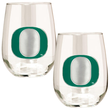 Oregon Ducks 15 oz. Stemless Wine Glass - (Set of 2)