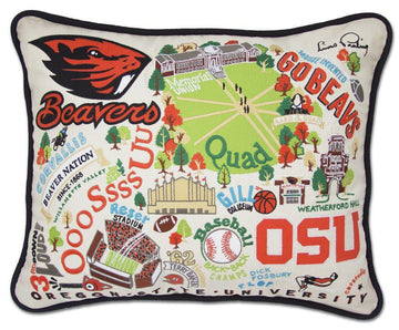 Oregon State University Embroidered Catstudio Pillow