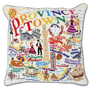 Provincetown Hand Embroidered Catstudio Pillow-Pillow-CatStudio-Top Notch Gift Shop