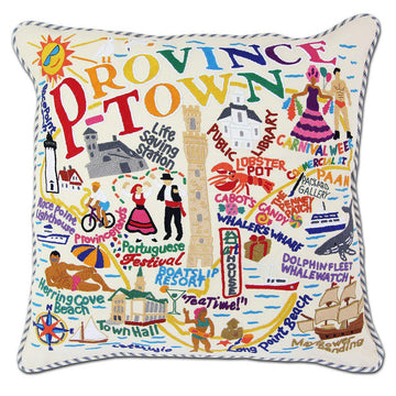 Provincetown Hand Embroidered Catstudio Pillow