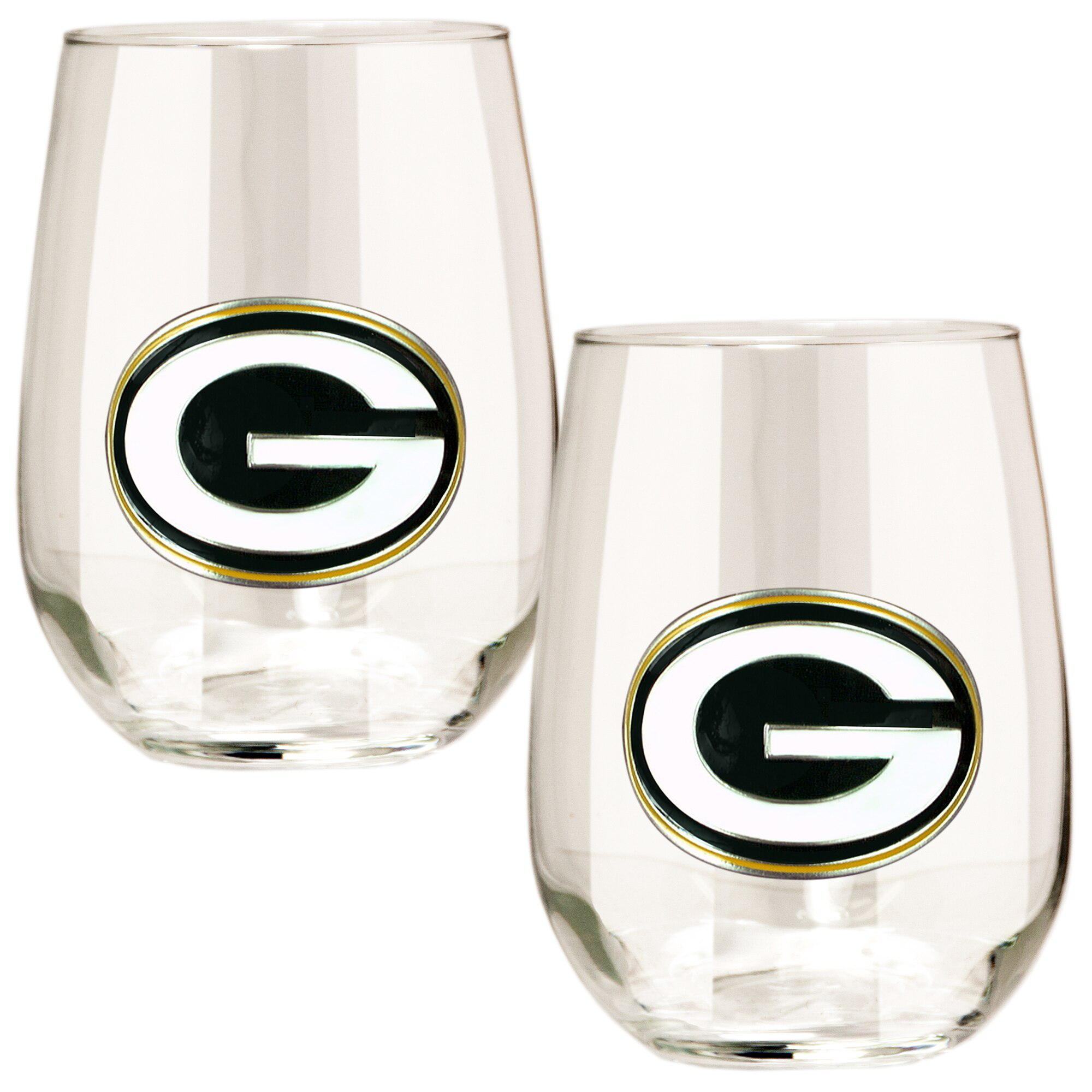 Green Bay Packers Stemless Wine Glass - (Set of 2)-Stemless Wine Glass-Great American Products-Top Notch Gift Shop