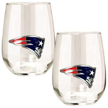 New England Patriots 15 oz. Stemless Wine Glass - (Set of 2)