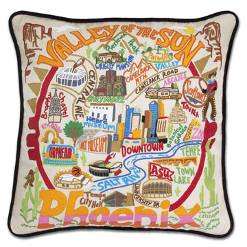 Phoenix Hand Embroidered Catstudio Pillow