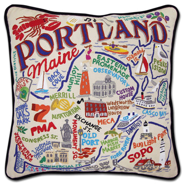 Portland, Maine Embroidered Catstudio Pillow