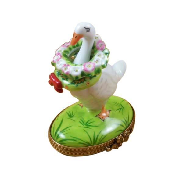 Goose With Spring & Christmas Wreaths Limoges Box by Rochard-Limoges Box-Rochard-Top Notch Gift Shop