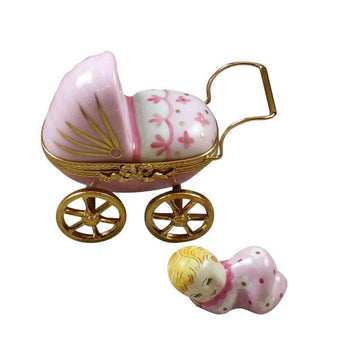 Pink Baby Carriage Limoges Box  by Rochard