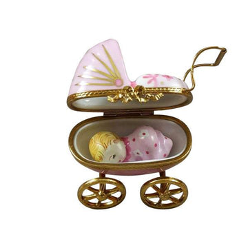 Pink Baby Carriage Limoges Box by Rochard™