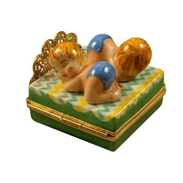 Twin Boys On Bed Limoges Box by Rochard™