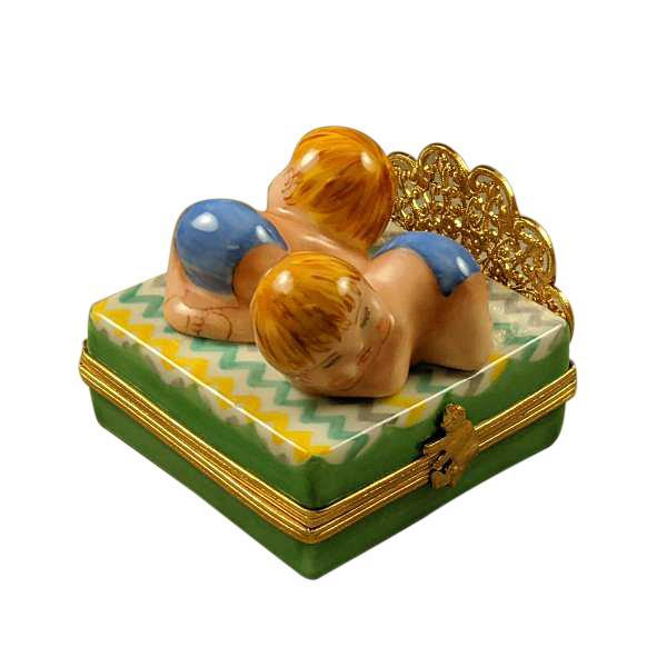 Twin Boys On Bed Limoges Box by Rochard™-Limoges Box-Rochard-Top Notch Gift Shop