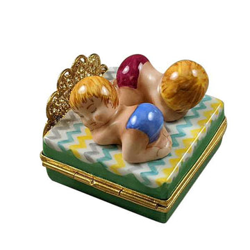 Twin Boy and Girl On Bed Limoges Box by Rochard™