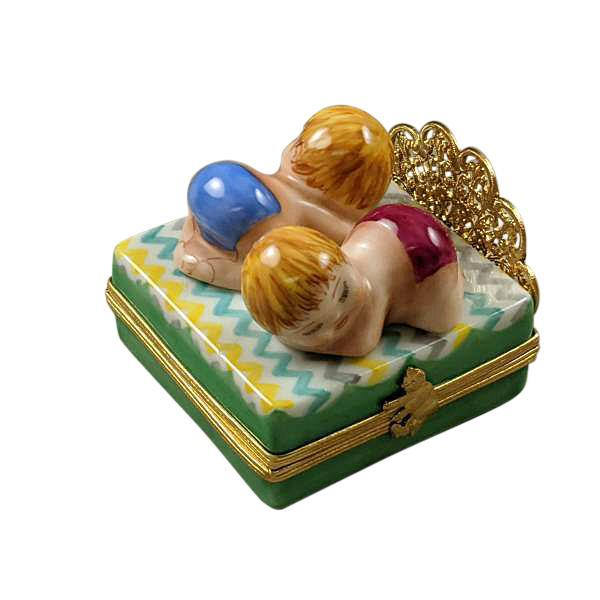 Twin Boy and Girl On Bed Limoges Box by Rochard™-Limoges Box-Rochard-Top Notch Gift Shop