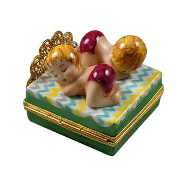 Twin Girls On Bed Limoges Box by Rochard™