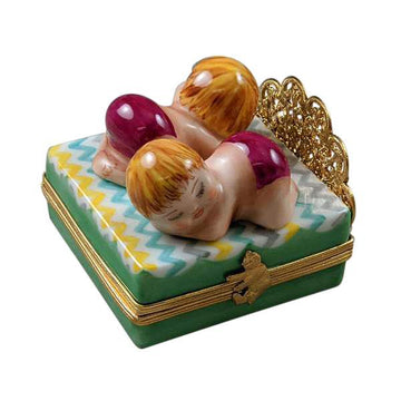 Twin Girls On Bed Limoges Box  by Rochard