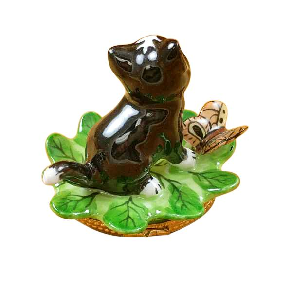 Cat on a Leaf Limoges Box by Rochard™-Limoges Box-Rochard-Top Notch Gift Shop