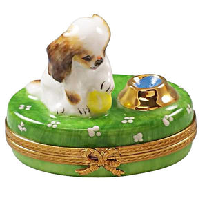 Spaniel Puppy with Bowl Limoges Box by Rochard™-Limoges Box-Rochard-Top Notch Gift Shop