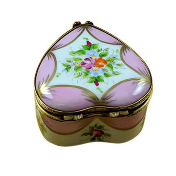 Pink Heart With Flowers Limoges Box by Rochard™