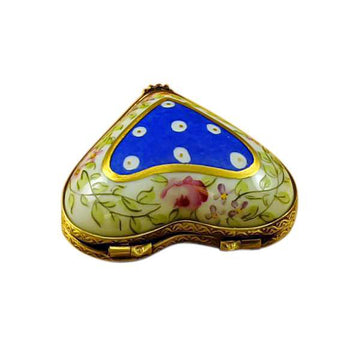 Blue Heart With Flowers Limoges Box by Rochard™