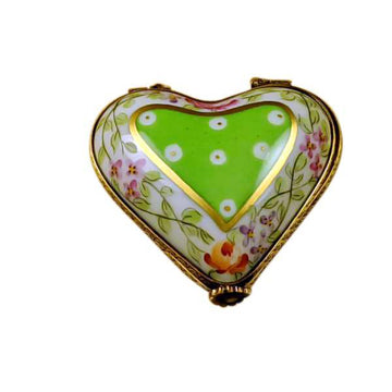 Green Heart With Flowers Limoges Box by Rochard™