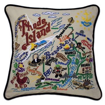 Rhode Island Hand Embroidered Catstudio State Pillow