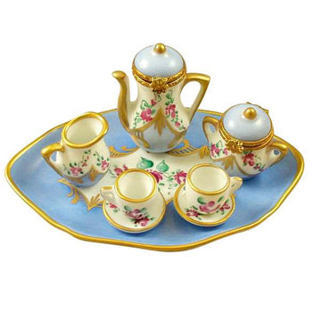 8 Piece Tea Set - Light Blue Limoges Set  by Rochard