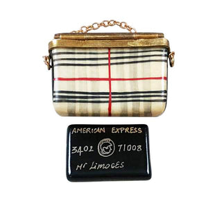 Burberry Purse with Black Amx Card Limoges Box by Rochard™-Limoges Box-Rochard-Top Notch Gift Shop