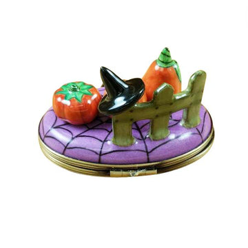 3 Pumpkin Scene with Witch Hat Limoges Box by Rochard™