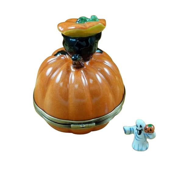 Black Cat on Jack-O-Lantern Limoges Box by Rochard™-Limoges Box-Rochard-Top Notch Gift Shop