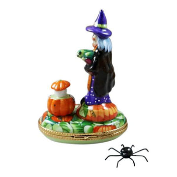 Witch with Pumpkin and Removable Spider Limoges Box by Rochard™