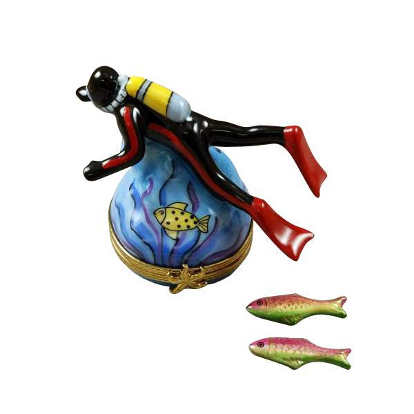 Scuba Diver with Two Removable Fish Limoges Box by Rochard™-Limoges Box-Rochard-Top Notch Gift Shop