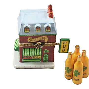 Irish Pub with 4 Beer Bottles Limoges Box  by Rochard