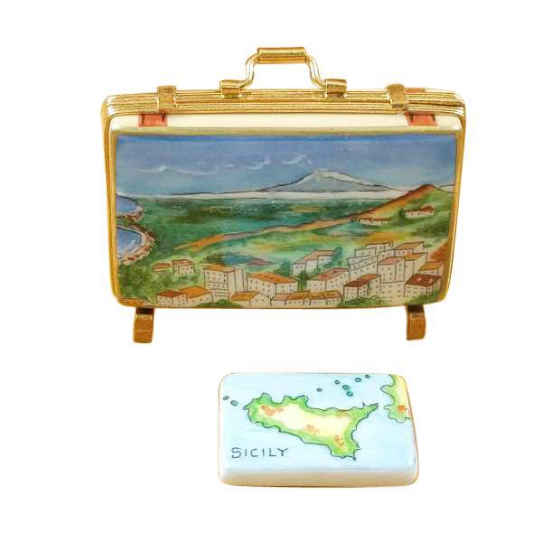 Sicily Suitcase with Removable Map Limoges Box by Rochard™-Limoges Box-Rochard-Top Notch Gift Shop