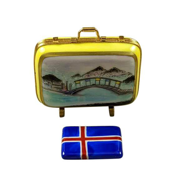 Iceland Suitcase with Flag Limoges Box by Rochard™-Limoges Box-Rochard-Top Notch Gift Shop