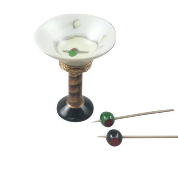 Martini Glass with Olives Limoges Box by Rochard™