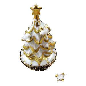 White and Gold Christmas Tree Limoges Box by Rochard™-Limoges Box-Rochard-Top Notch Gift Shop