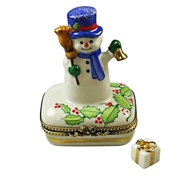 Snowman with Blue Scarf Limoges Box by Rochard™-Limoges Box-Rochard-Top Notch Gift Shop