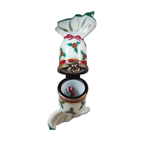 Christmas Cracker with Candy Cane Limoges Box by Rochard™-Limoges Box-Rochard-Top Notch Gift Shop
