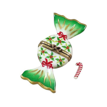 Holly Candy with Candy Cane Limoges Box by Rochard™