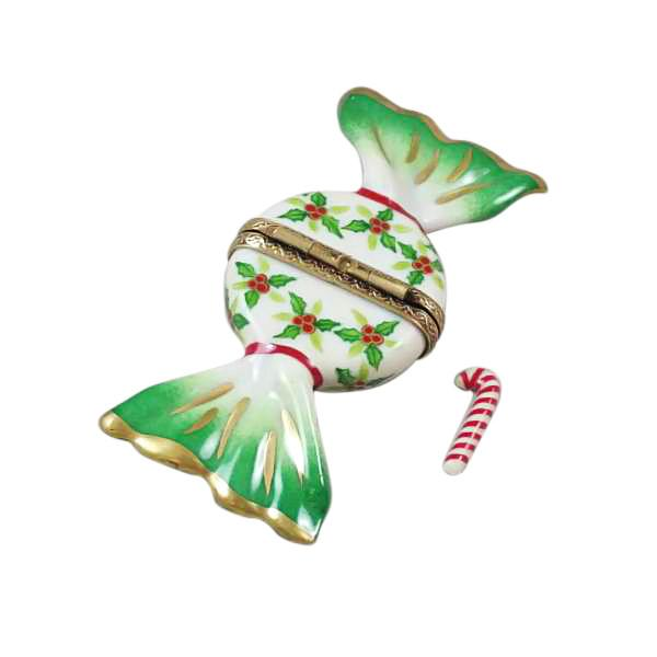 Holly Candy with Candy Cane Limoges Box by Rochard™-Limoges Box-Rochard-Top Notch Gift Shop